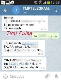 Contoh Transaksi Cek Saldo melalui Telegram