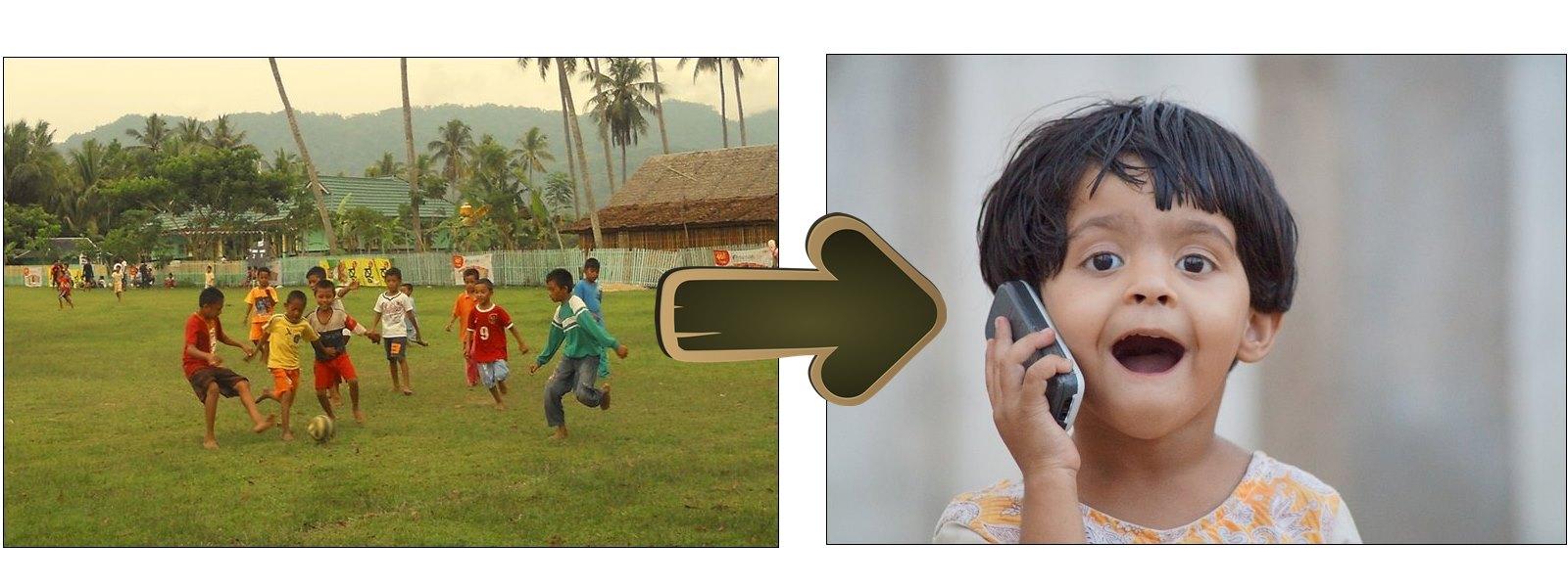 Zaman sudah berubah anak dulu suka main bola sekarang main handphone