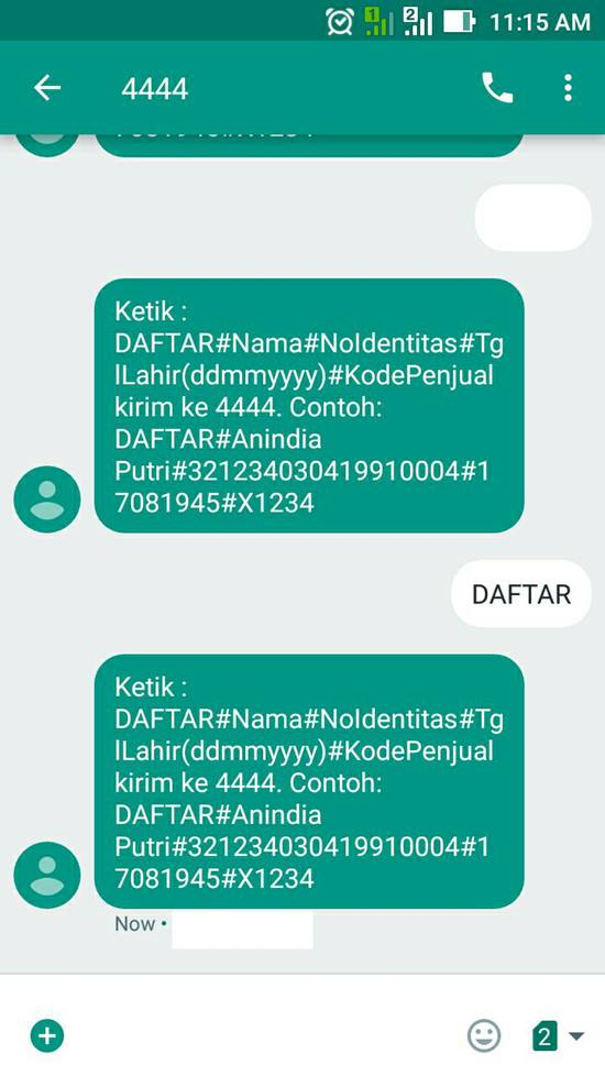Registrasi Perdana Axis via SMS