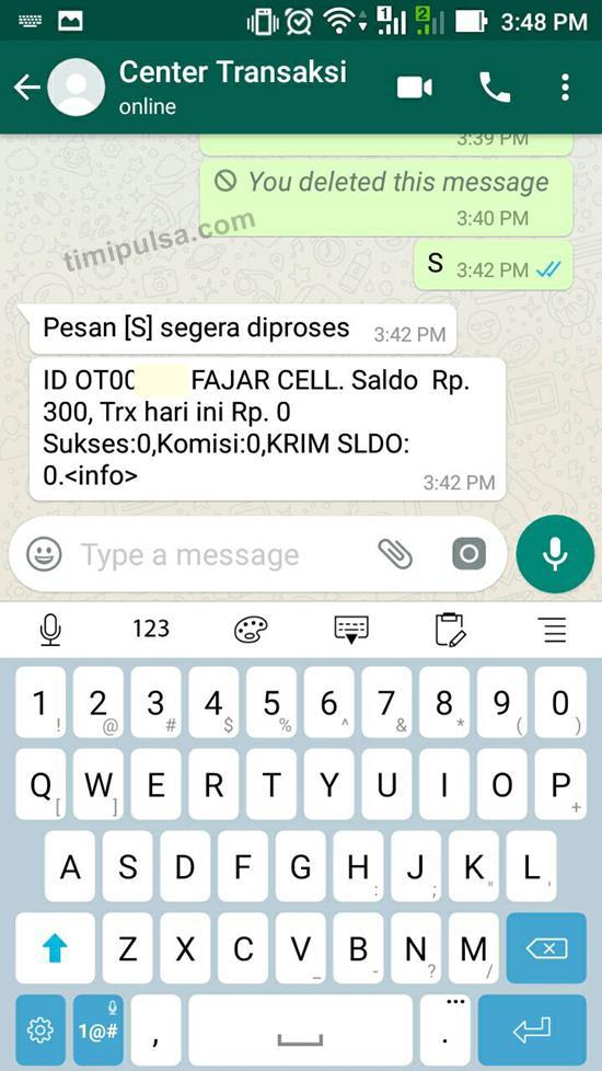 Cara cek Saldo Pulsa via Whatsapp